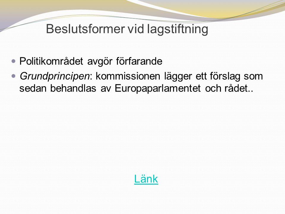 Beslutsformer vid lagstiftning Politikområdet avgör förfarande Grundprincipen: kommissionen lägger ett förslag som sedan behandlas av Europaparlamente