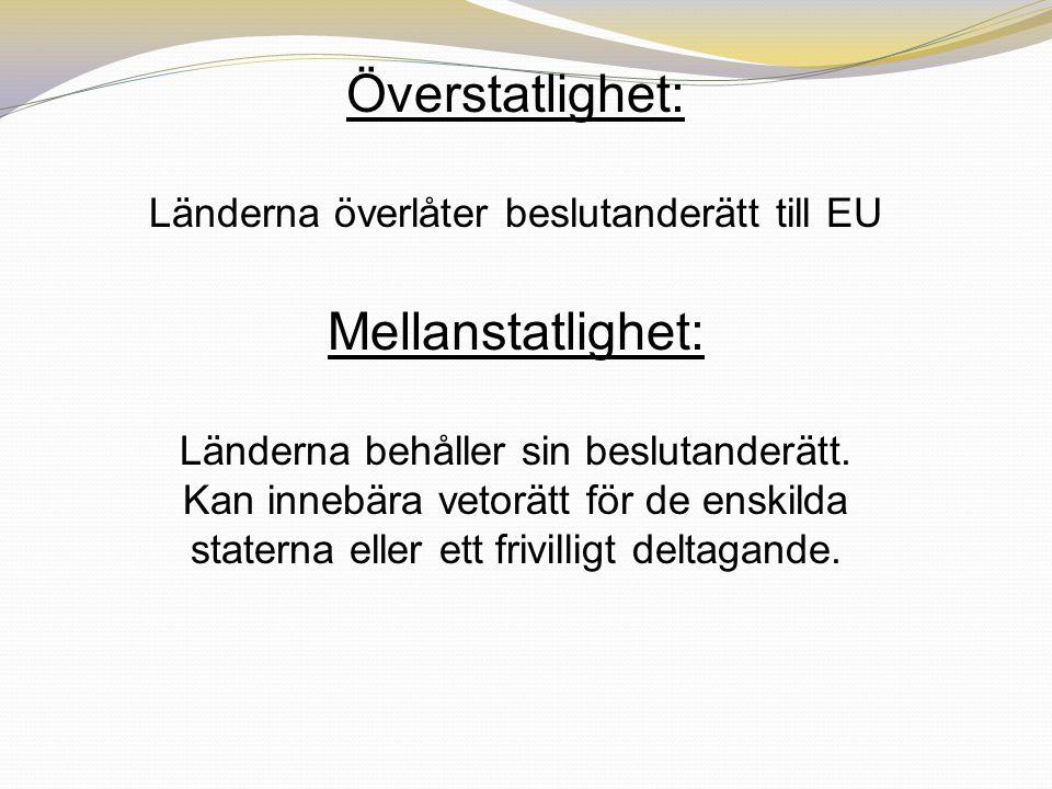 Överstatlighet: Länderna överlåter beslutanderätt till EU Mellanstatlighet: Länderna behåller sin beslutanderätt. Kan innebära vetorätt för de enskild