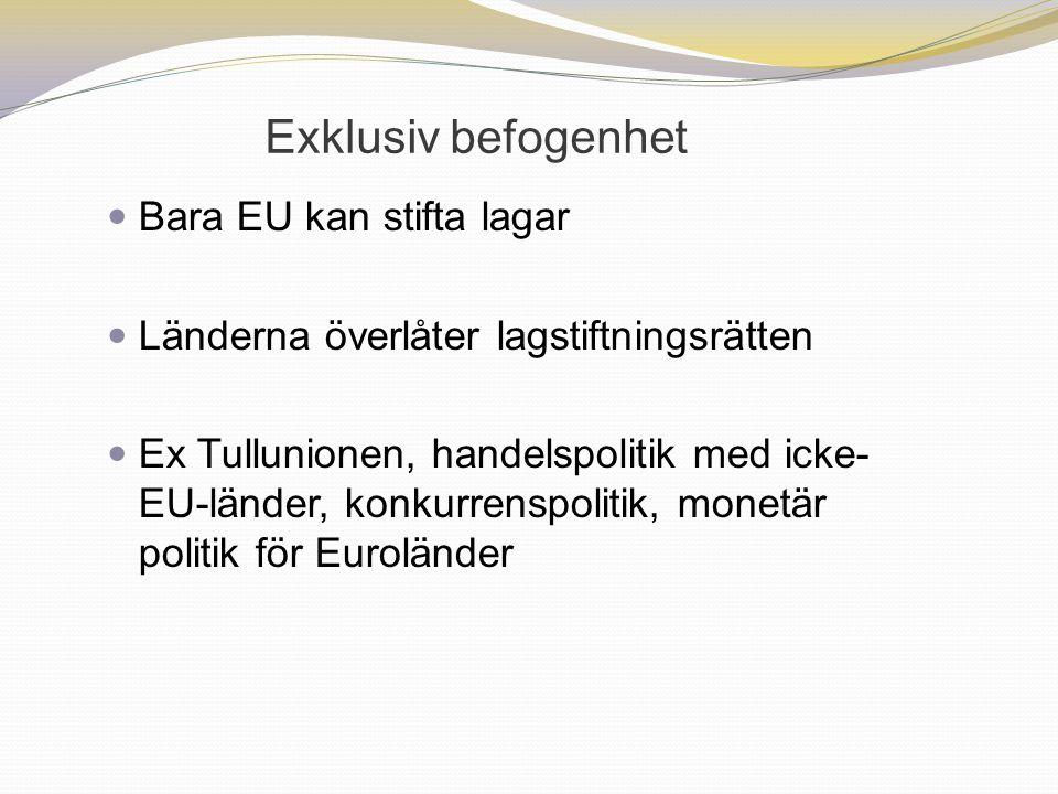 Exklusiv befogenhet Bara EU kan stifta lagar Länderna överlåter lagstiftningsrätten Ex Tullunionen, handelspolitik med icke- EU-länder, konkurrenspoli