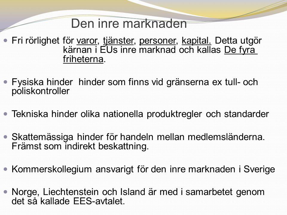 Den inre marknaden Fri rörlighet för varor, tjänster, personer, kapital. Detta utgör kärnan i EUs inre marknad och kallas De fyra friheterna. Fysiska