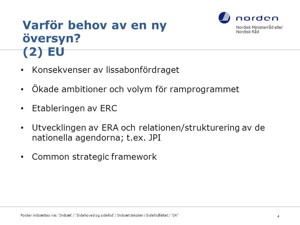 Nordisk Ministerråd eller Nordisk Råd Footer indsættes via: Indsæt / Sidehoved og sidefod / Indsæt teksten i Sidefodfeltet / OK 15