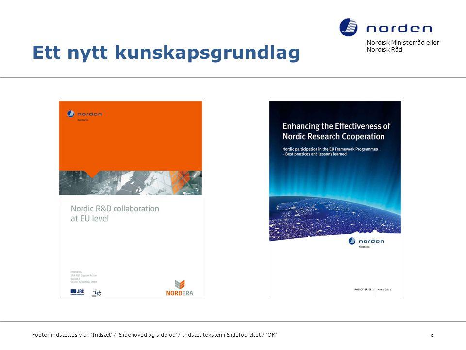 Nordisk Ministerråd eller Nordisk Råd Footer indsættes via: Indsæt / Sidehoved og sidefod / Indsæt teksten i Sidefodfeltet / OK 10
