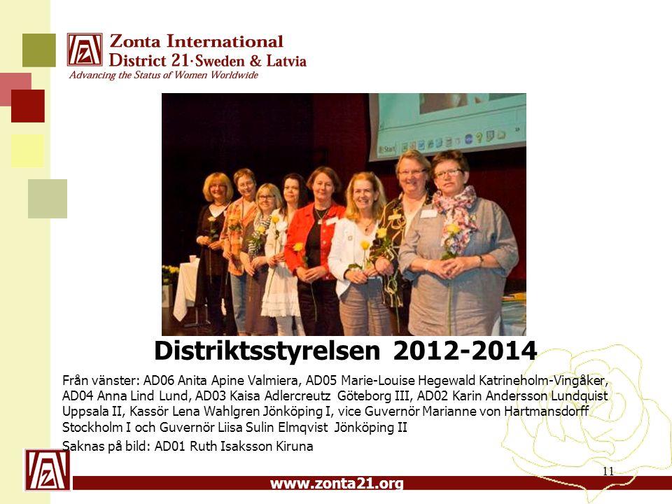 www.zonta21.org Distriktsstyrelsen 2012-2014 Från vänster: AD06 Anita Apine Valmiera, AD05 Marie-Louise Hegewald Katrineholm-Vingåker, AD04 Anna Lind