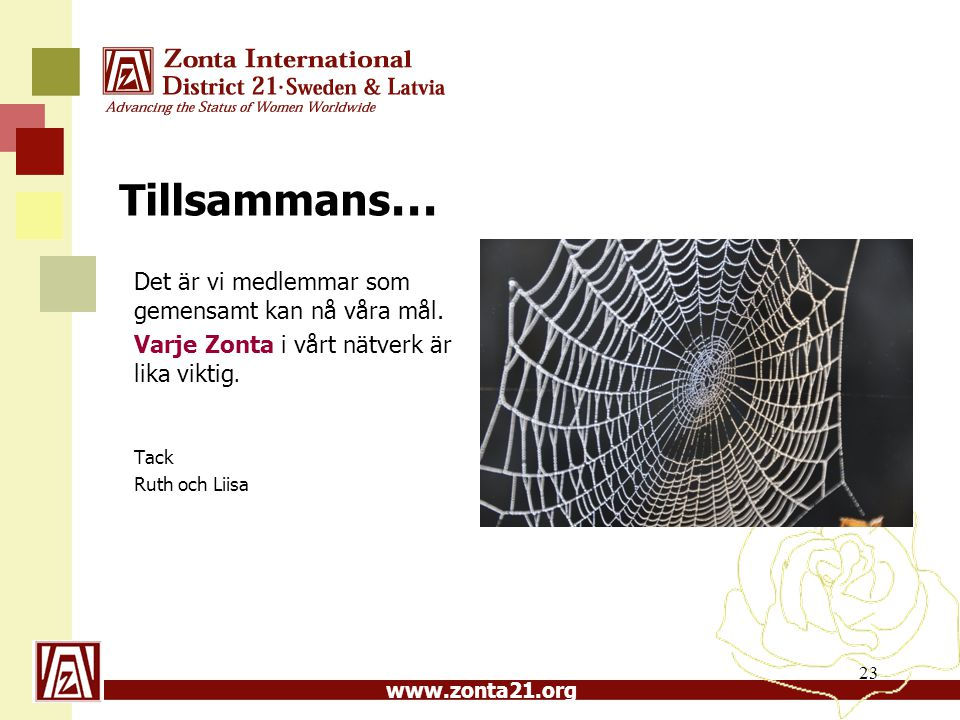 www.zonta21.org Tillsammans … Det är vi medlemmar som gemensamt kan nå våra mål. Varje Zonta i vårt nätverk är lika viktig. Tack Ruth och Liisa 23