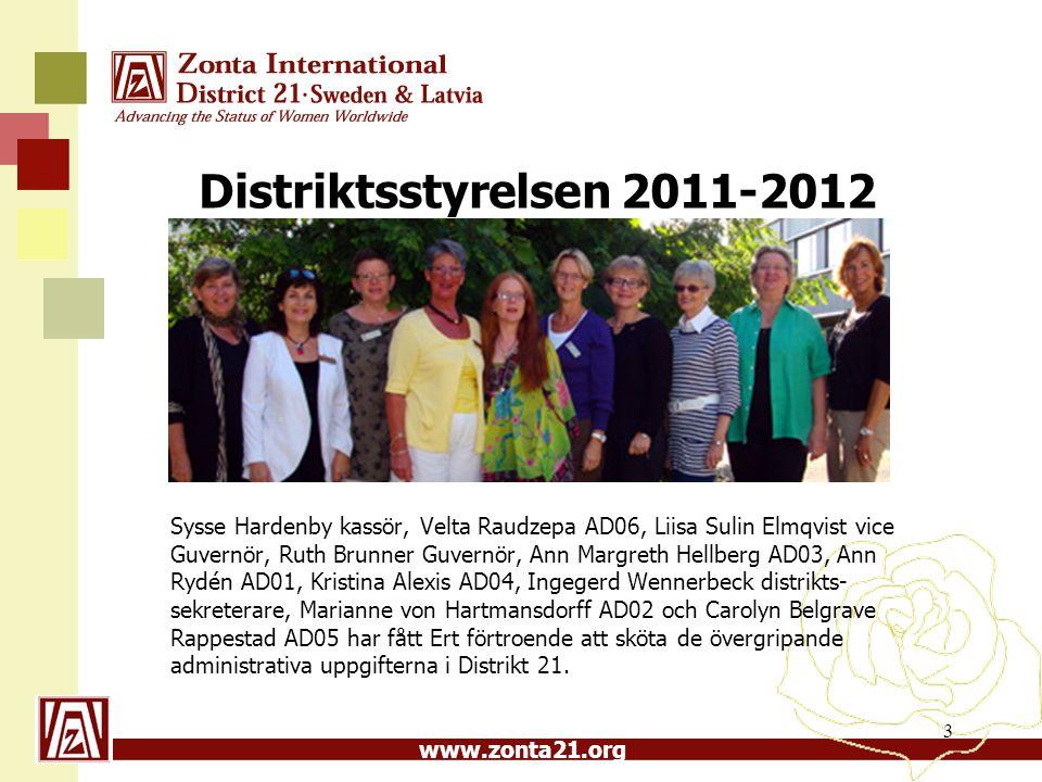 www.zonta21.org Distriktsstyrelsen 2011-2012 Sysse Hardenby kassör, Velta Raudzepa AD06, Liisa Sulin Elmqvist vice Guvernör, Ruth Brunner Guvernör, An