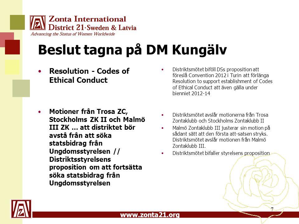 www.zonta21.org Beslut tagna på DM Kungälv Resolution - Codes of Ethical Conduct Motioner från Trosa ZC, Stockholms ZK II och Malmö III ZK … att distr
