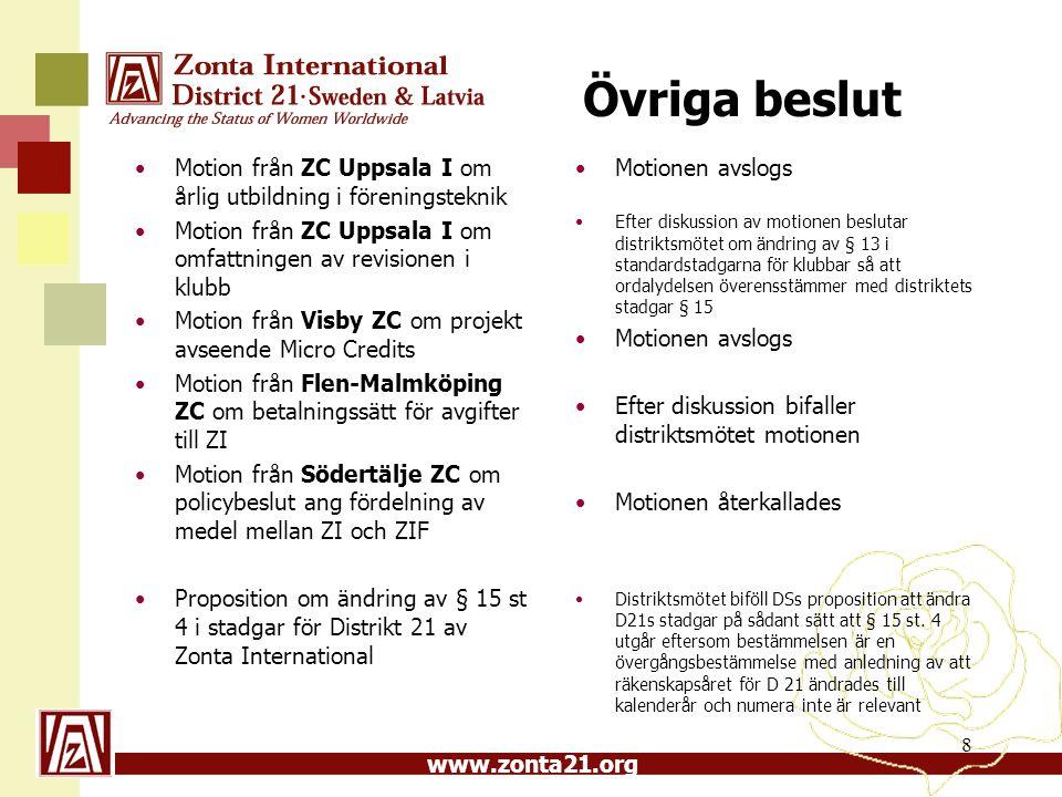 www.zonta21.org Övriga beslut Motion från ZC Uppsala I om årlig utbildning i föreningsteknik Motion från ZC Uppsala I om omfattningen av revisionen i