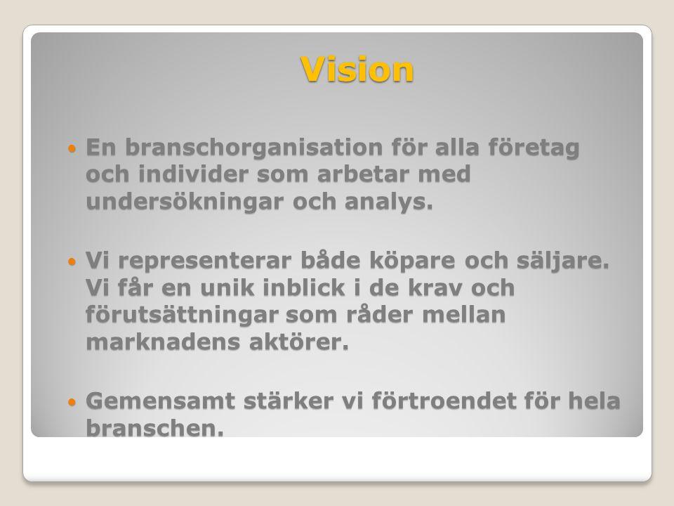 Vision En branschorganisation för alla företag och individer som arbetar med undersökningar och analys.