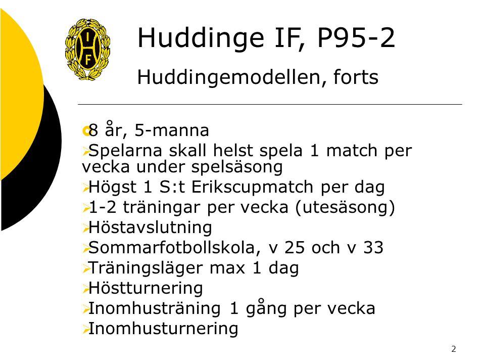 2  8 år, 5-manna  Spelarna skall helst spela 1 match per vecka under spelsäsong  Högst 1 S:t Erikscupmatch per dag  1-2 träningar per vecka (utesäsong)  Höstavslutning  Sommarfotbollskola, v 25 och v 33  Träningsläger max 1 dag  Höstturnering  Inomhusträning 1 gång per vecka  Inomhusturnering Huddinge IF, P95-2 Huddingemodellen, forts