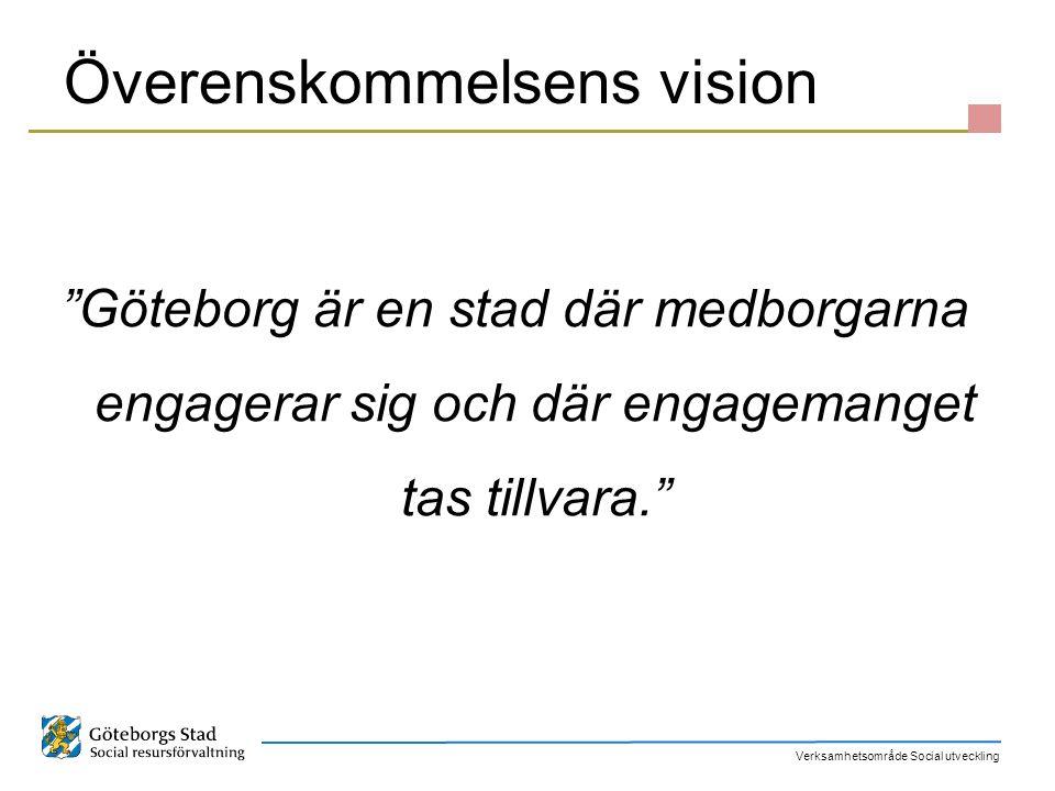 """Verksamhetsområde Social utveckling Överenskommelsens vision """"Göteborg är en stad där medborgarna engagerar sig och där engagemanget tas tillvara."""""""