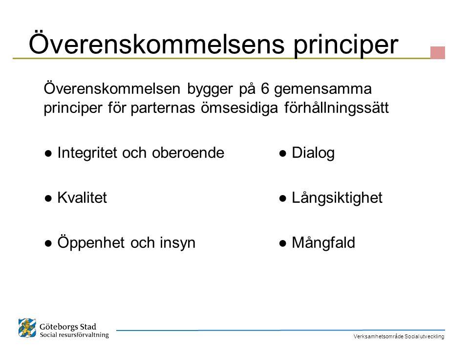 Verksamhetsområde Social utveckling Överenskommelsens principer Överenskommelsen bygger på 6 gemensamma principer för parternas ömsesidiga förhållning