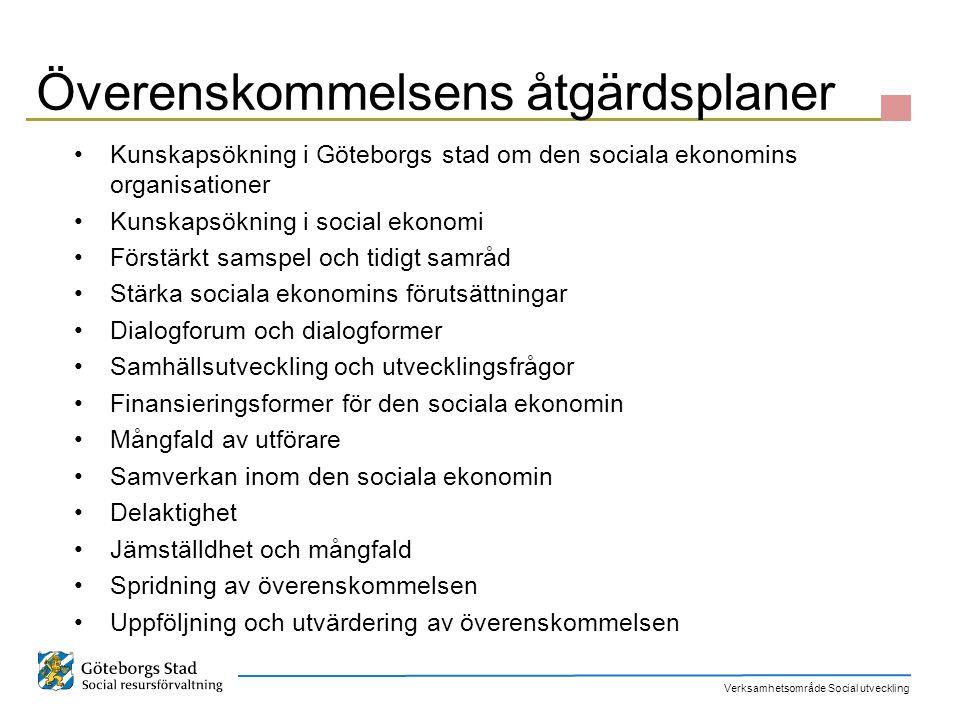 Verksamhetsområde Social utveckling Överenskommelsens åtgärdsplaner Kunskapsökning i Göteborgs stad om den sociala ekonomins organisationer Kunskapsök