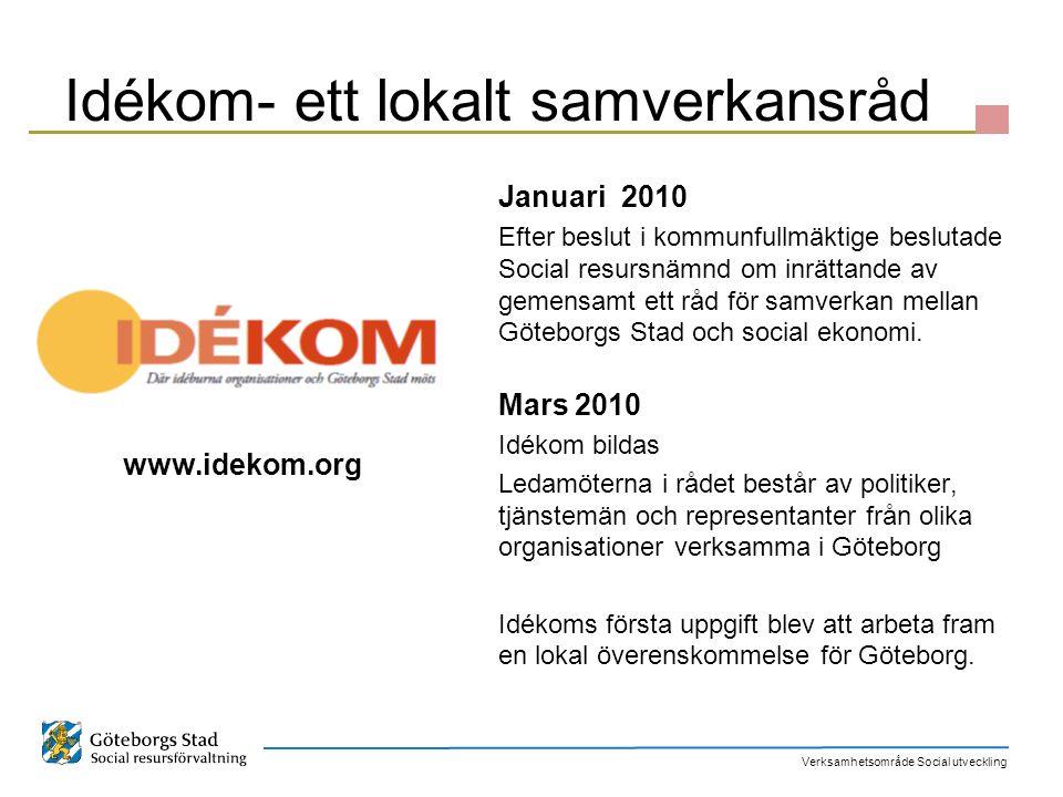 Verksamhetsområde Social utveckling Idékom- ett lokalt samverkansråd Januari 2010 Efter beslut i kommunfullmäktige beslutade Social resursnämnd om inr