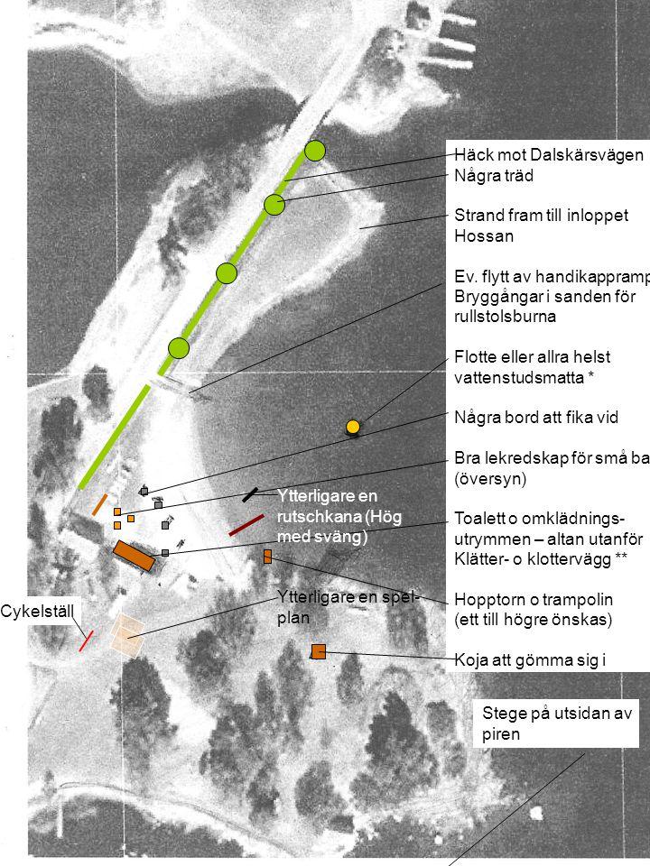 Häck mot Dalskärsvägen Några träd Strand fram till inloppet Hossan Ev. flytt av handikappramp Bryggångar i sanden för rullstolsburna Flotte eller allr