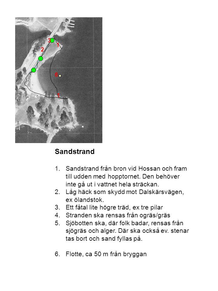 Sandstrand 1.Sandstrand från bron vid Hossan och fram till udden med hopptornet. Den behöver inte gå ut i vattnet hela sträckan. 2.Låg häck som skydd