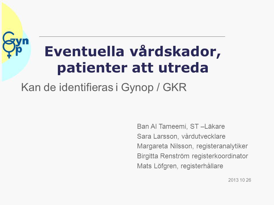 Eventuella vårdskador, patienter att utreda Kan de identifieras i Gynop / GKR 2013 10 26 Ban Al Tameemi, ST –Läkare Sara Larsson, vårdutvecklare Marga