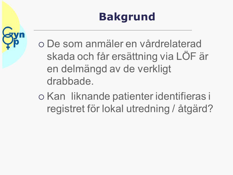 Finns de LÖF ersatta i registret  2005 – 2012 ersattes 564 patienter som skulle finnas i Gynop / GKR  479 fanns i Gynop/GKR bortfall 15%  Lågt bortfall