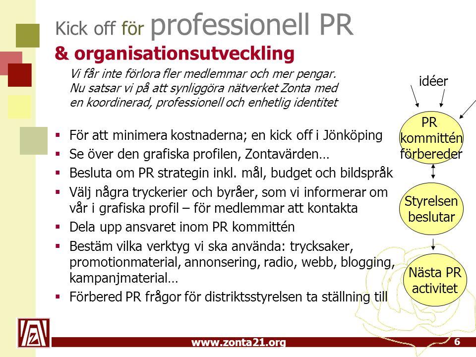 www.zonta21.org Grundläggande faktorer PR strategi 1.Analysera situationen – gör en allmän PR, se vad konkurrenterna gör, och vilka medel vi har 2.Sätt upp mål och inriktning – de måste vara hållbara, mätbara, nårbara, realistiska och tidsbegränsade 3.Identifiera målgrupper – vem försöker vi kommunicera med.