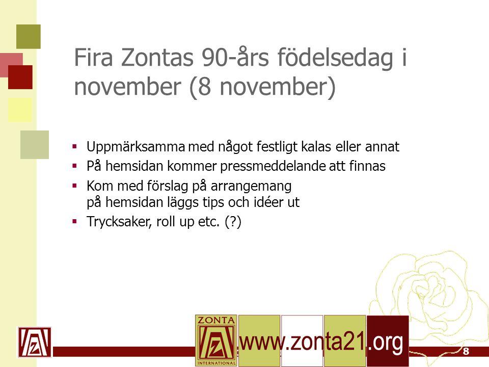 www.zonta21.org Fira Zontas 90-års födelsedag i november (8 november)  Uppmärksamma med något festligt kalas eller annat  På hemsidan kommer pressmeddelande att finnas  Kom med förslag på arrangemang på hemsidan läggs tips och idéer ut  Trycksaker, roll up etc.