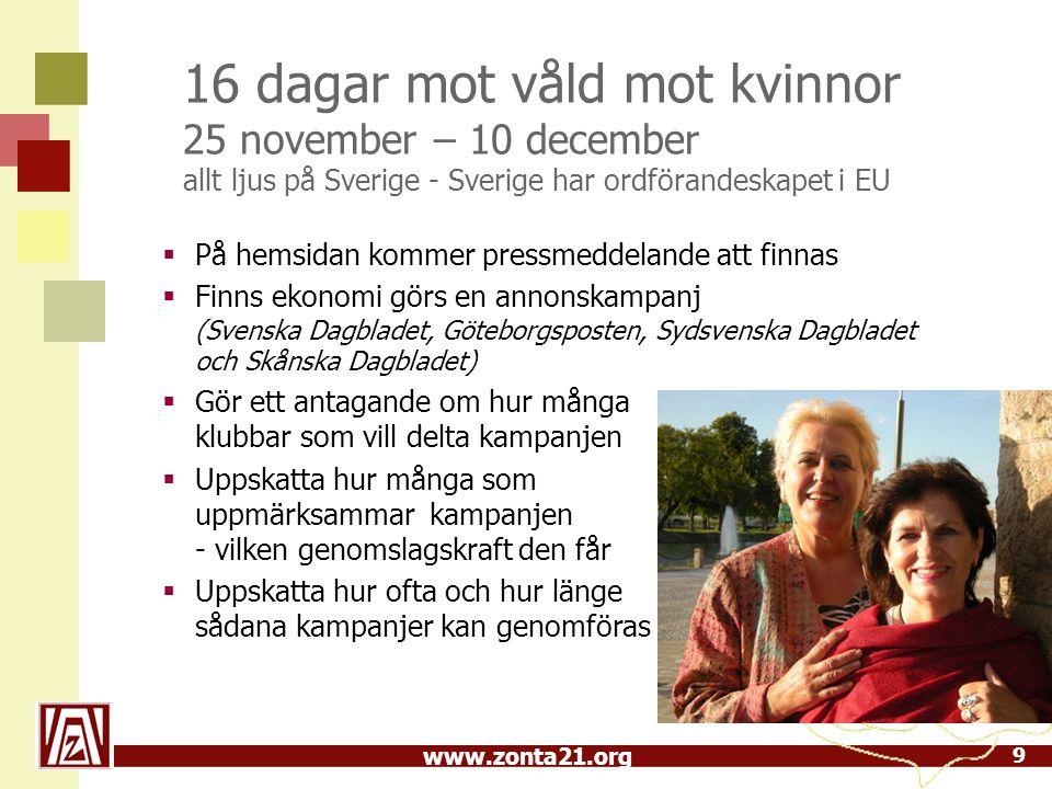 www.zonta21.org 16 dagar mot våld mot kvinnor 25 november – 10 december allt ljus på Sverige - Sverige har ordförandeskapet i EU 9  På hemsidan kommer pressmeddelande att finnas  Finns ekonomi görs en annonskampanj (Svenska Dagbladet, Göteborgsposten, Sydsvenska Dagbladet och Skånska Dagbladet)  Gör ett antagande om hur många klubbar som vill delta kampanjen  Uppskatta hur många som uppmärksammar kampanjen - vilken genomslagskraft den får  Uppskatta hur ofta och hur länge sådana kampanjer kan genomföras