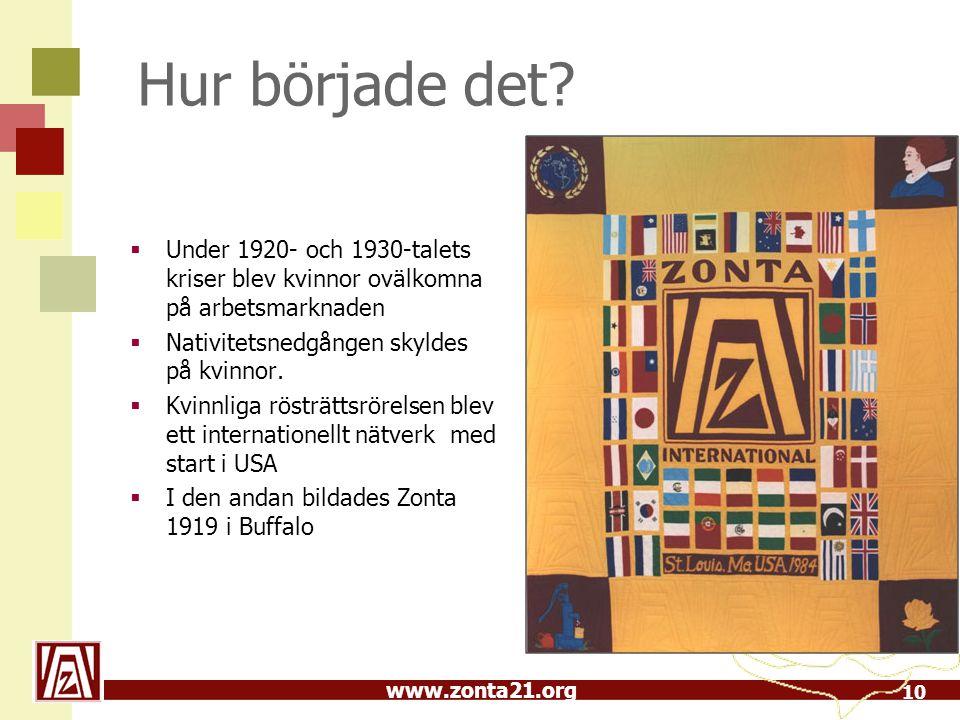 www.zonta21.org Hur började det?  Under 1920- och 1930-talets kriser blev kvinnor ovälkomna på arbetsmarknaden  Nativitetsnedgången skyldes på kvinn