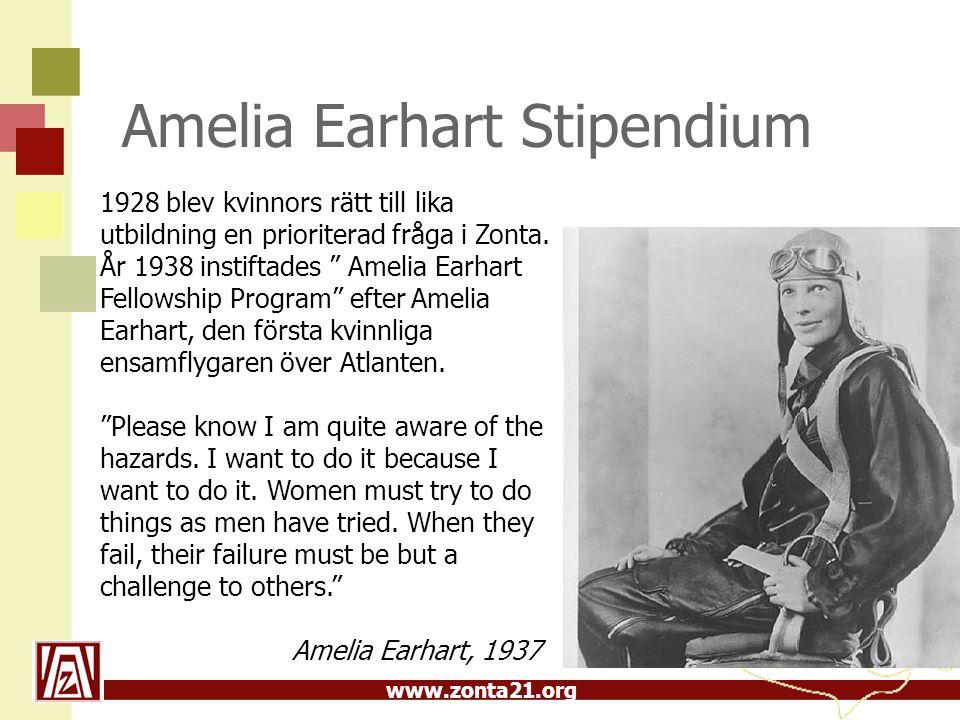 """www.zonta21.org Amelia Earhart Stipendium 1928 blev kvinnors rätt till lika utbildning en prioriterad fråga i Zonta. År 1938 instiftades """" Amelia Earh"""