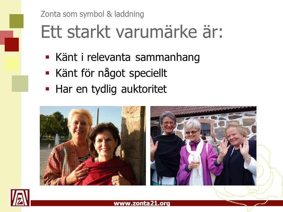 www.zonta21.org Zonta som symbol & laddning Ett starkt varumärke är:  Känt i relevanta sammanhang  Känt för något speciellt  Har en tydlig auktorit