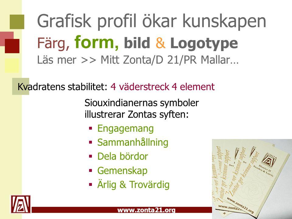 www.zonta21.org Grafisk profil ökar kunskapen Färg, form, bild & Logotype Läs mer >> Mitt Zonta/D 21/PR Mallar… Siouxindianernas symboler illustrerar