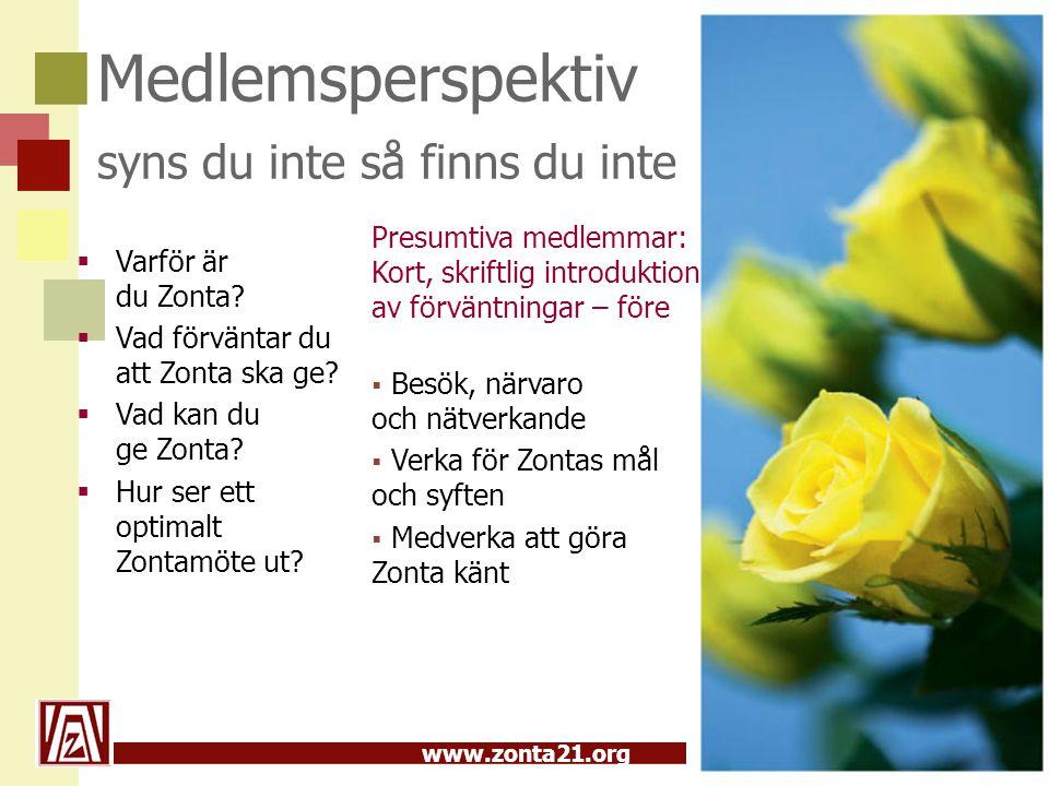 www.zonta21.org Medlemsperspektiv syns du inte så finns du inte  Varför är du Zonta?  Vad förväntar du att Zonta ska ge?  Vad kan du ge Zonta?  Hu