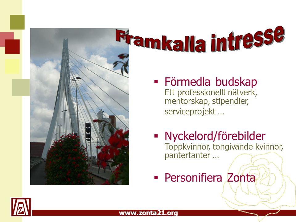 www.zonta21.org  Förmedla budskap Ett professionellt nätverk, mentorskap, stipendier, serviceprojekt …  Nyckelord/förebilder Toppkvinnor, tongivande