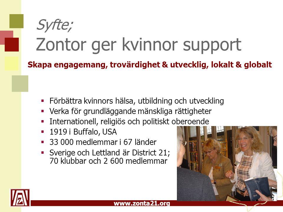 www.zonta21.org Syfte; Zontor ger kvinnor support  Förbättra kvinnors hälsa, utbildning och utveckling  Verka för grundläggande mänskliga rättighete