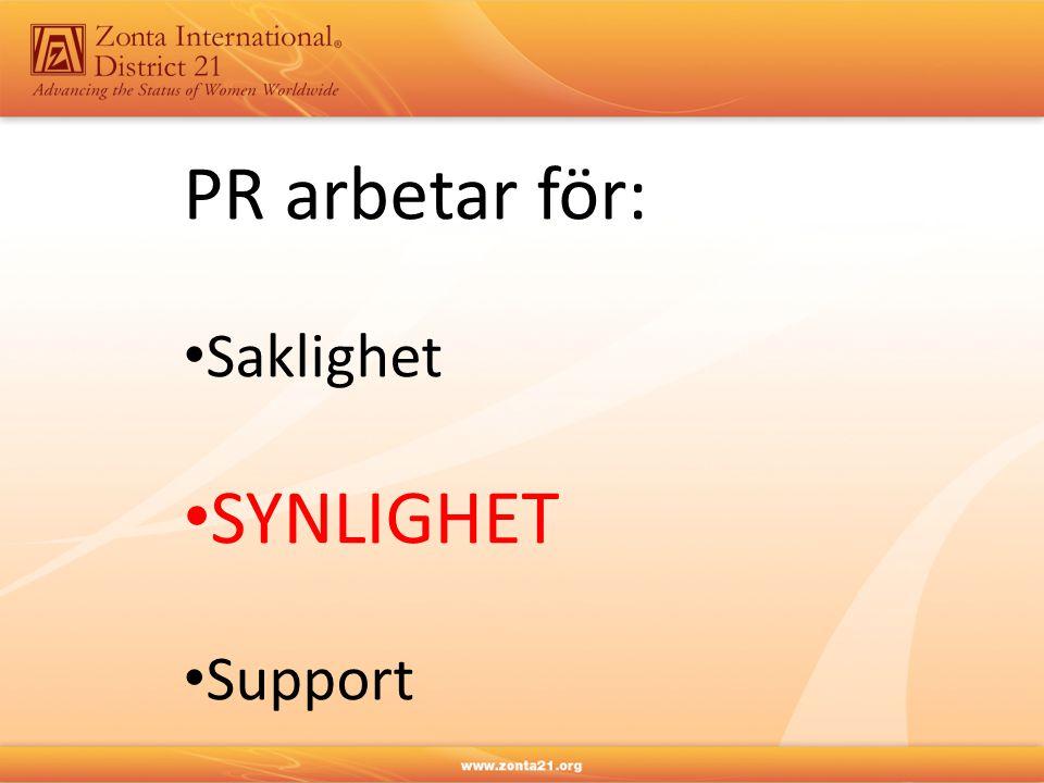 PR arbetar för: Saklighet SYNLIGHET Support