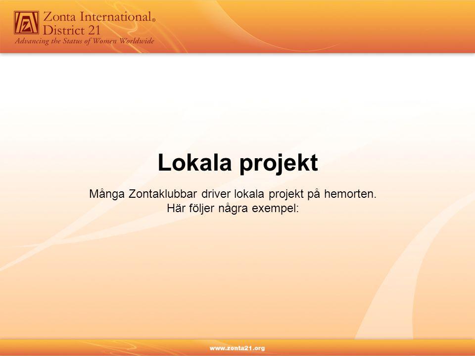 Många Zontaklubbar driver lokala projekt på hemorten. Här följer några exempel: Lokala projekt