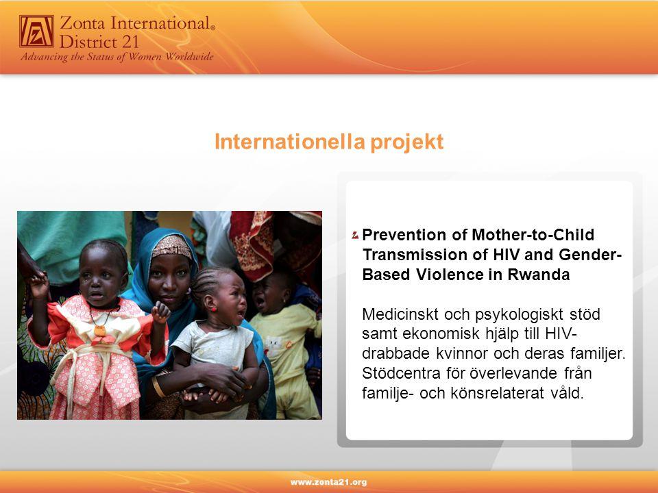 Internationella projekt Prevention of Mother-to-Child Transmission of HIV and Gender- Based Violence in Rwanda Medicinskt och psykologiskt stöd samt ekonomisk hjälp till HIV- drabbade kvinnor och deras familjer.