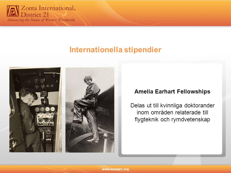 Amelia Earhart Fellowships Delas ut till kvinnliga doktorander inom områden relaterade till flygteknik och rymdvetenskap Internationella stipendier