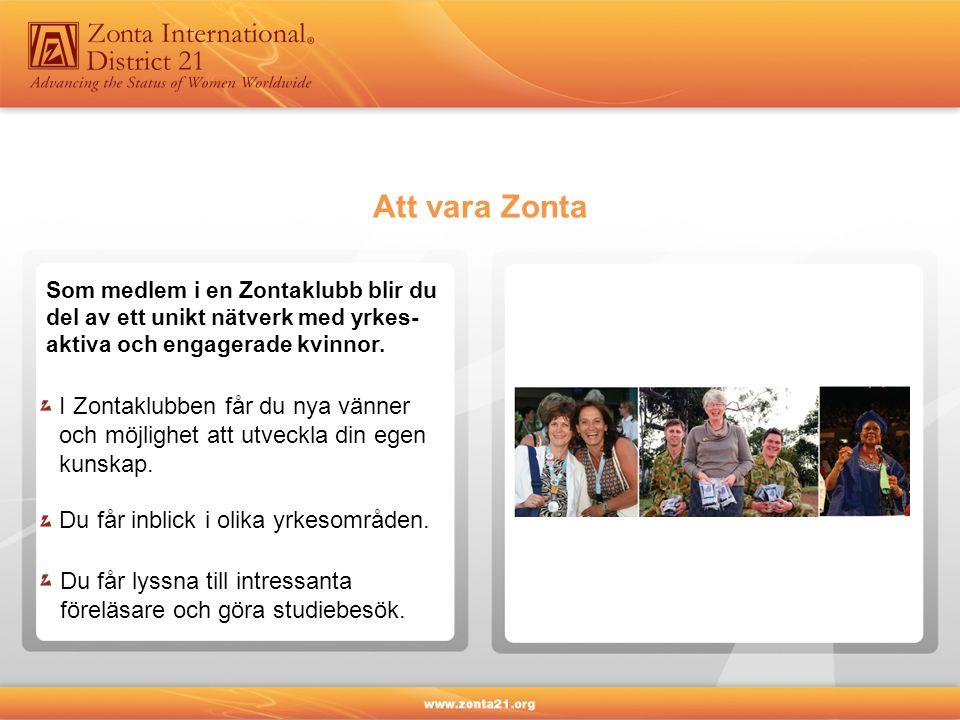 Som medlem i en Zontaklubb blir du del av ett unikt nätverk med yrkes- aktiva och engagerade kvinnor.