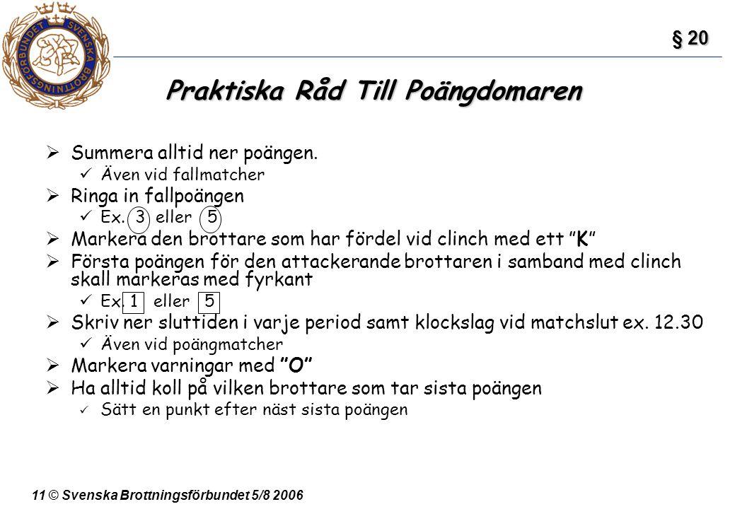 11 © Svenska Brottningsförbundet 5/8 2006  Summera alltid ner poängen. Även vid fallmatcher  Ringa in fallpoängen Ex. 3 eller 5  Markera den brotta