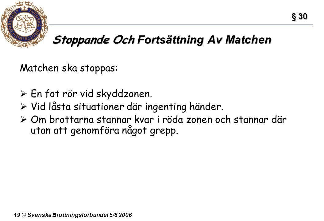 19 © Svenska Brottningsförbundet 5/8 2006 Stoppande Och Fortsättning Av Matchen Matchen ska stoppas:  En fot rör vid skyddzonen.  Vid låsta situatio