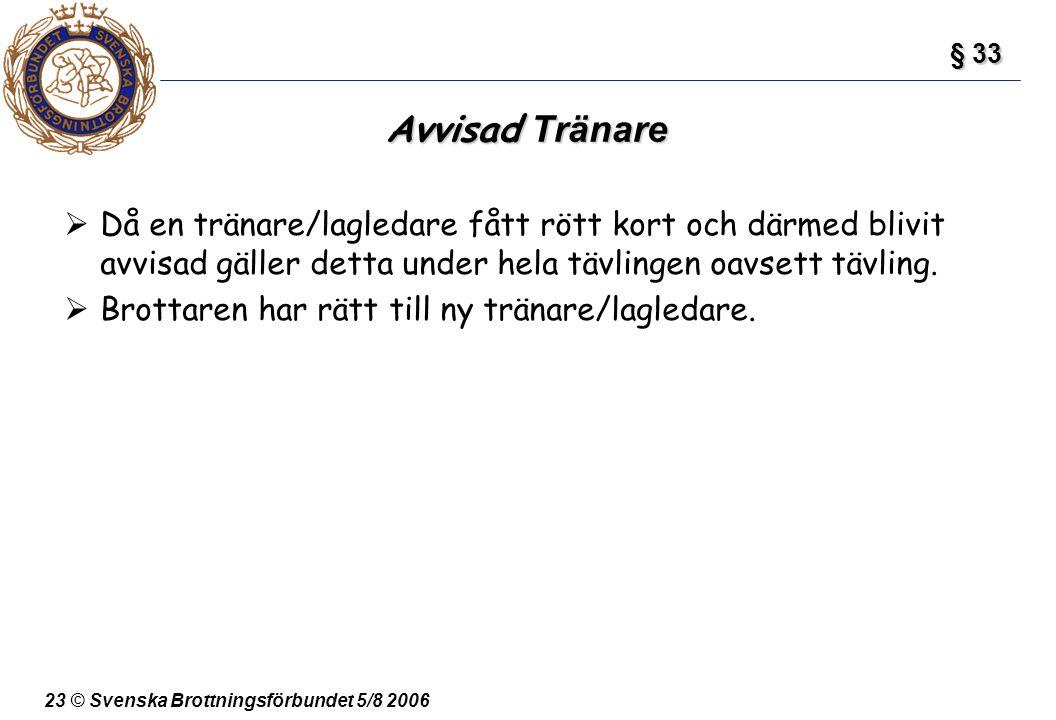 23 © Svenska Brottningsförbundet 5/8 2006 Avvisad Tränare  Då en tränare/lagledare fått rött kort och därmed blivit avvisad gäller detta under hela t