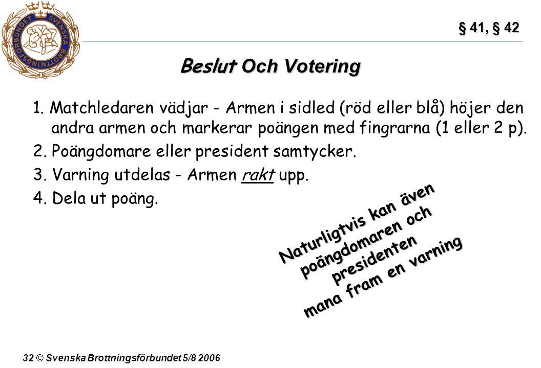 32 © Svenska Brottningsförbundet 5/8 2006 Beslut Och Votering 1. Matchledaren vädjar - Armen i sidled (röd eller blå) höjer den andra armen och marker