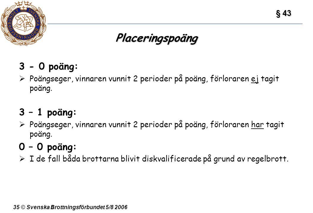 35 © Svenska Brottningsförbundet 5/8 2006 Placeringspoäng 3 - 0 poäng:  Poängseger, vinnaren vunnit 2 perioder på poäng, förloraren ej tagit poäng. 3