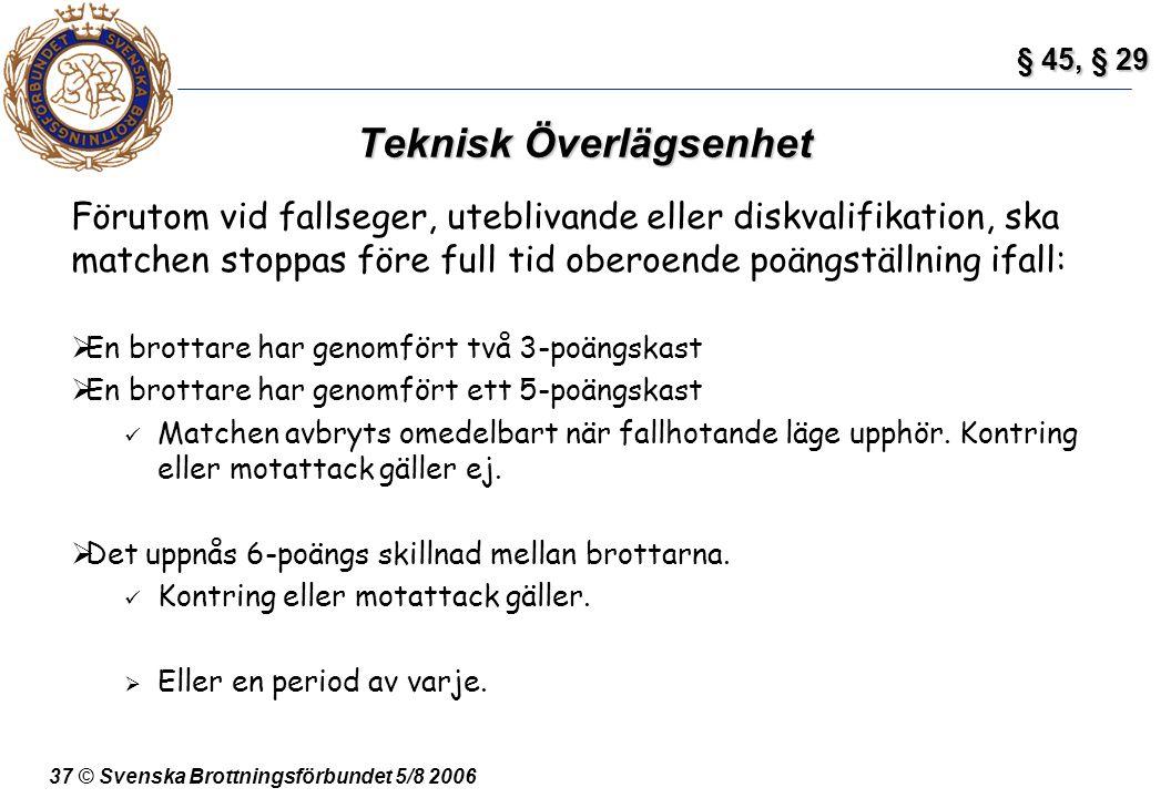 37 © Svenska Brottningsförbundet 5/8 2006 Teknisk Överlägsenhet Förutom vid fallseger, uteblivande eller diskvalifikation, ska matchen stoppas före fu