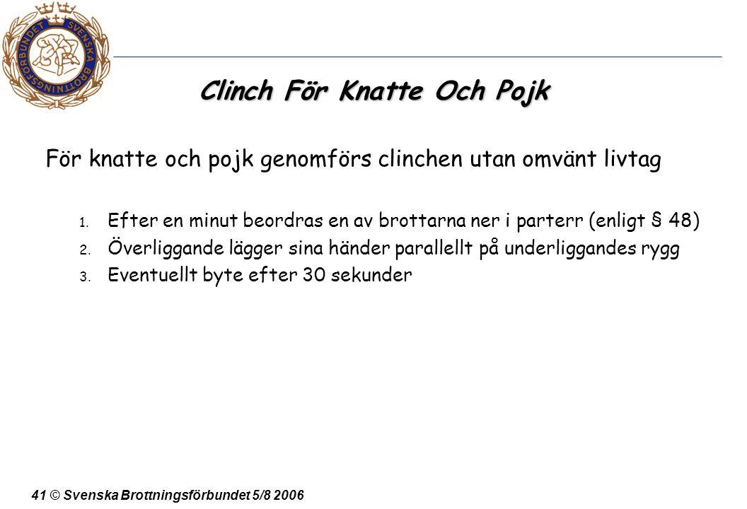 41 © Svenska Brottningsförbundet 5/8 2006 Clinch För Knatte Och Pojk För knatte och pojk genomförs clinchen utan omvänt livtag 1. Efter en minut beord