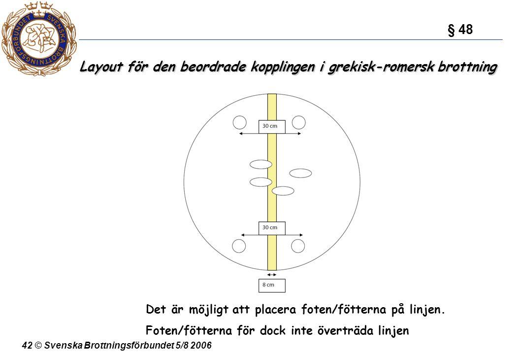42 © Svenska Brottningsförbundet 5/8 2006 Layout för den beordrade kopplingen i grekisk-romersk brottning § 48 Det är möjligt att placera foten/fötter