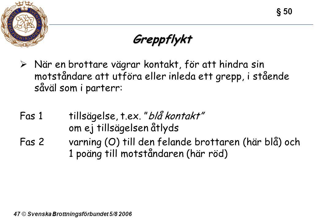 47 © Svenska Brottningsförbundet 5/8 2006 Greppflykt  När en brottare vägrar kontakt, för att hindra sin motståndare att utföra eller inleda ett grep