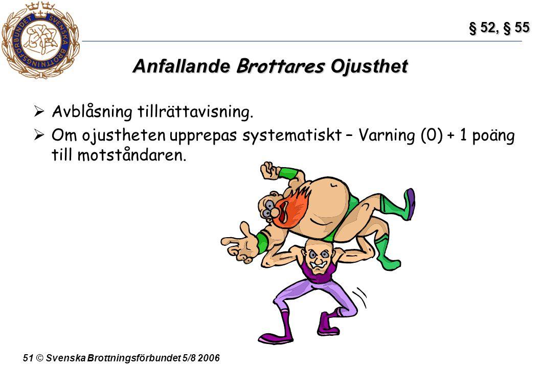 51 © Svenska Brottningsförbundet 5/8 2006 Anfallande Brottares Ojusthet  Avblåsning tillrättavisning.  Om ojustheten upprepas systematiskt – Varning