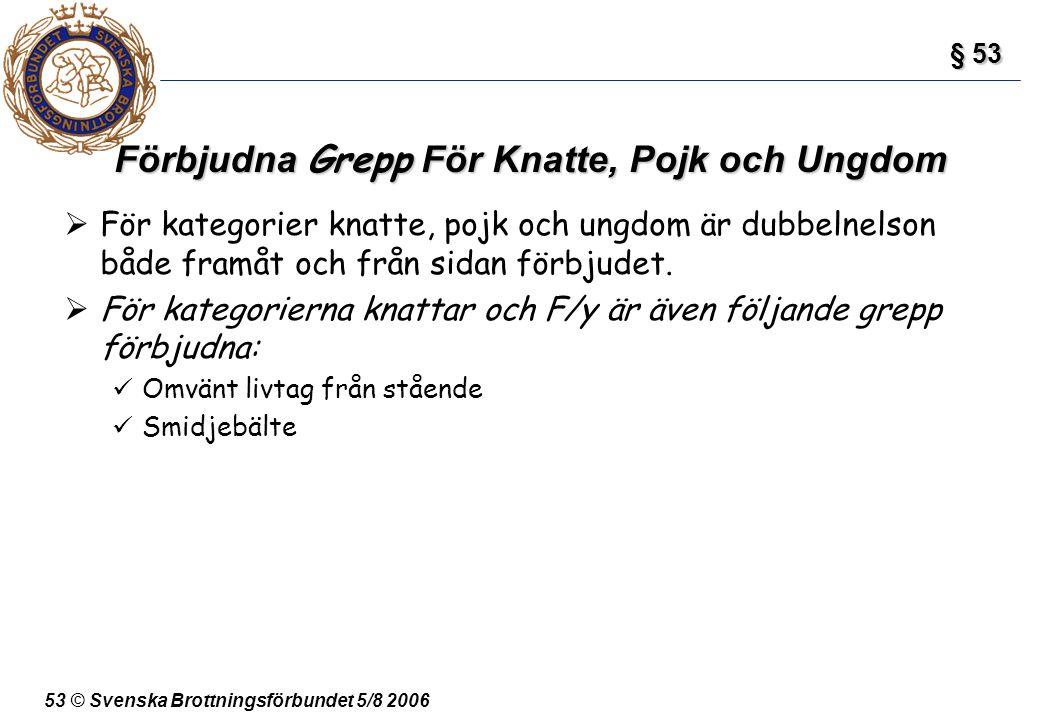 53 © Svenska Brottningsförbundet 5/8 2006 Förbjudna Grepp För Knatte, Pojk och Ungdom  För kategorier knatte, pojk och ungdom är dubbelnelson både fr