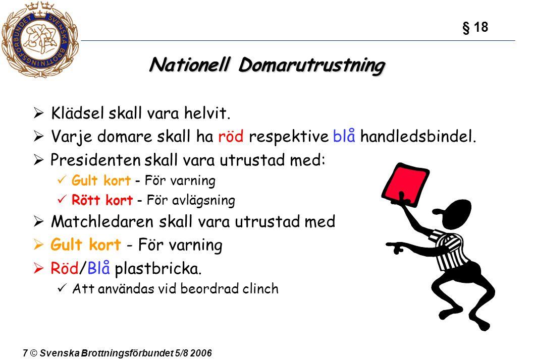 7 © Svenska Brottningsförbundet 5/8 2006 Nationell Domarutrustning  Klädsel skall vara helvit.  Varje domare skall ha röd respektive blå handledsbin