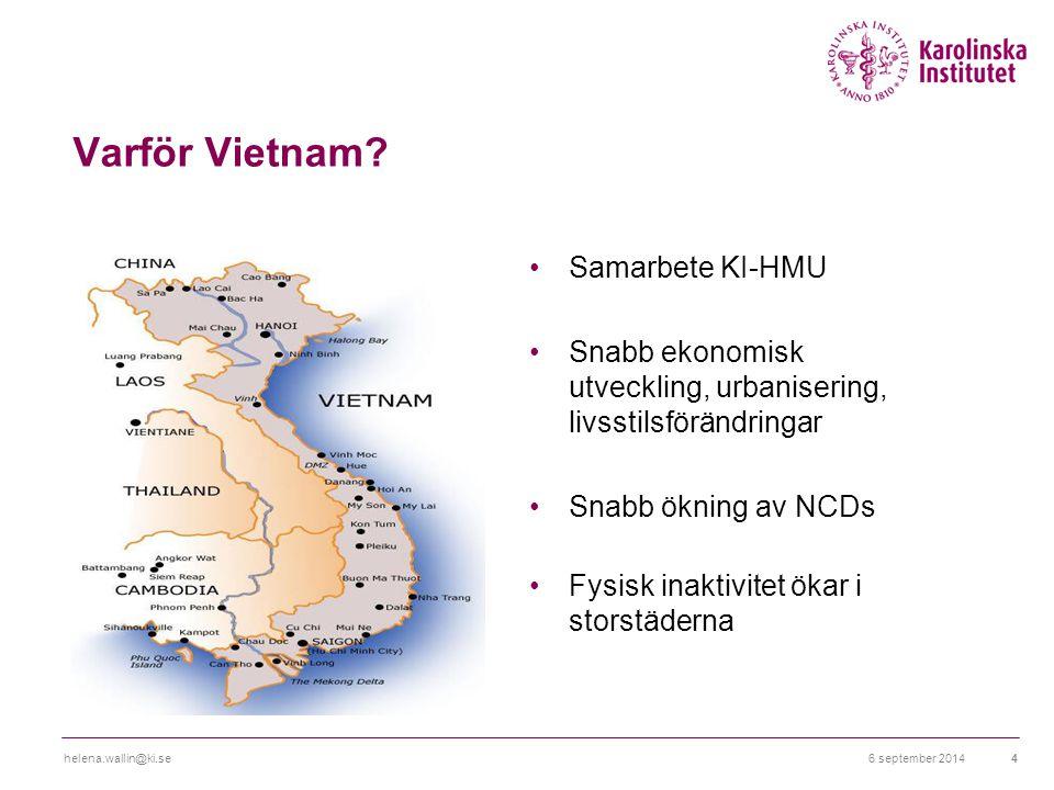 Varför Vietnam? Samarbete KI-HMU Snabb ekonomisk utveckling, urbanisering, livsstilsförändringar Snabb ökning av NCDs Fysisk inaktivitet ökar i storst