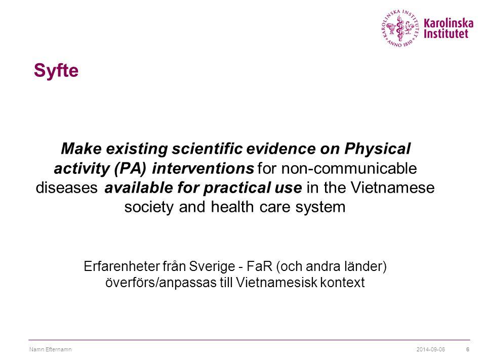 Projektets innehåll  Kurser/utbildning – implementering av FaR  Översättning av FYSS  Media - kampanj  Samarbete med hälsoministeriet  Nya forskningssamarbeten ?.